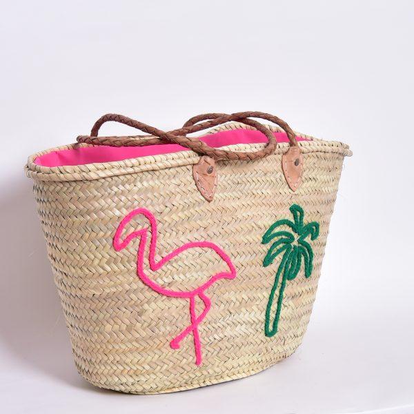 Marrokanischer Korb mit Flamingo